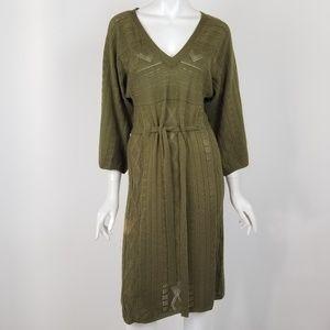 Calvin Klein Olive Green Open Knit Sweater Dress
